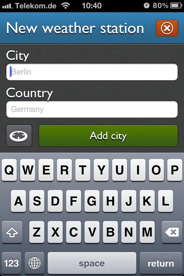 App Screenshot - Add new location