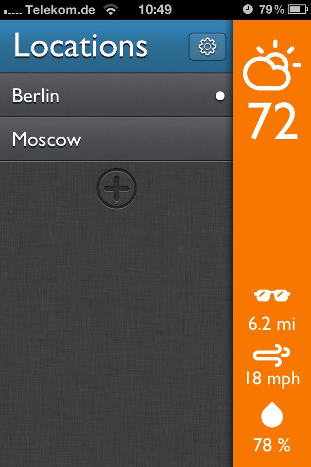 App Screenshot - Locations / Settings